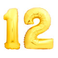 Golden Number 12 Made Of Inflatable Balloon Stock Photography - 97882202