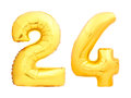 Golden Number 24 Twenty Four Made Of Inflatable Balloon Royalty Free Stock Images - 97882249
