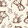 Vintage Vector Coffee Seamless Pattern Royalty Free Stock Photos - 97892278