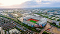 Old Trafford Is A Football Stadium Greater Manchester England And The Home Of Manchester United. Aerial View Of Iconic Football Gr Royalty Free Stock Photos - 97897268