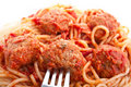 Spaghetti With Meatballs In Tomato Sauce Royalty Free Stock Image - 9791676