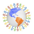 3D Globe With The View On America With Drawn People Holding Hands. Concept For Friendship, Globalization, Communication Stock Photos - 97902683