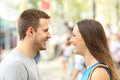 Profile Of Couple Looking Each Other Falling In Love Royalty Free Stock Image - 97920606