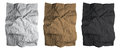 Crumpled Paper Sheet. Black, White And Brown Paper Textures Set.  Vector. Stock Photography - 97921202