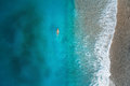 Aerial View Of Swimming Woman In Mediterranean Sea Stock Images - 97921474