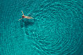 Aerial View Of Swimming Woman In Mediterranean Sea Stock Photography - 97921612