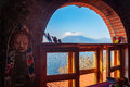 Volcano View Out Of The Window On The Shore Of Lake Atitlan, Guatemala Royalty Free Stock Images - 97940359