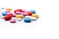 Colorful Medicine Pills On White Background Stock Image - 97946401