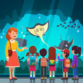 Kids Watching Crampfish At Oceanarium Excursion Royalty Free Stock Images - 97947529
