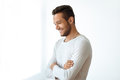 Side View Portrait Of Smiling Handsome Man On White Background Royalty Free Stock Image - 97948506