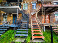 Typical Montreal Neighborhood Street  With Staircases Royalty Free Stock Photo - 97963735