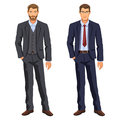 Two Men. Man In Business Suit. Elegant Young Cartoon Businessman Royalty Free Stock Photography - 97980637
