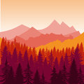 Panorama Of Mountains And Forest Silhouette Landscape Early On The Sunset. Flat Design Vector Royalty Free Stock Photo - 97986435