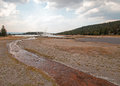 Tangled Creek Running Into Hot Lake Under Cumulus Cloudscape In The Lower Geyser Basin In Yellowstone National Park In Wyoming USA Royalty Free Stock Photo - 97993935