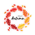 Hello Autumn Paper Cut Leaves. September Flyer Template. Space For Text. Origami Foliage. Oak. Circle Fall Leaf Poster Royalty Free Stock Photo - 97994385