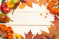 Autumn Background With Colored Leaves On Wooden Board. Top View Stock Image - 97998411