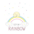 Sleep On A Rainbow Illustration With A Cat Stock Images - 98003484