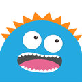 Blue Monster Head With Two Eyes, Teeth, Tongue. Funny Cute Cartoon Character. Baby Collection. Happy Halloween Card. Flat Design. Royalty Free Stock Images - 98005999