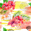 Hand Painted Watercolor Tropical Leaves And Flowers On Dry Rough Brush Stroke Background. Royalty Free Stock Photo - 98006215