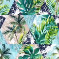 Watercolor Tropical Leaves And Palm Trees In Geometric Shapes Seamless Pattern Royalty Free Stock Photos - 98006708