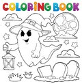 Coloring Book Ghost With Hat And Lantern Stock Photography - 98014692