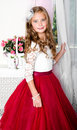 Adorable Smiling Little Girl Child In Princess Dress Stock Photography - 98017042