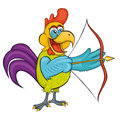 Rooster. Archery. Cartoon Style.  Isolated Image On White Background. Royalty Free Stock Images - 98020159