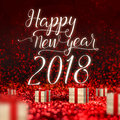 Happy New Year 2018 Greeting Card And Wood Present Box At Red Sp Stock Images - 98020234
