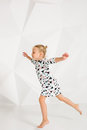 Beautiful Little Fashion Model On White Studio Background. Portrait Of Cute Girl Posing In Studio Royalty Free Stock Photography - 98023697