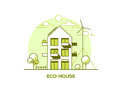 Eco Friendly Modern House. Green Architecture. Solar Panel, Wind Turbine, Green Roof. Vector Illustration. Stock Image - 98025551
