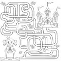 Help Little Cute Princess Find Path To Castle. Labyrinth. Maze Game For Kids Stock Photos - 98026183