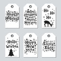 Christmas And New Year Gift Tags. Cards Xmas Set. Hand Drawn Elements. Collection Of Holiday Paper Label In Black And Stock Images - 98031144