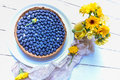Rustic Homemade Blueberry Pie On A Platter On Wooden Table, Sweet Treat Royalty Free Stock Photo - 98042335