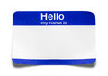 Hello My Name Is Tag Bent Royalty Free Stock Image - 98048116