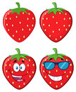 Strawberry Fruit Cartoon Mascot Character Set. Collection Royalty Free Stock Photography - 98057407