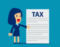 Businesswoman Is Showing Tax. Concept Business Tax Illustration. Stock Photography - 98059342