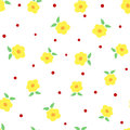 Cute Flowers With Leaves And Polka Dots. Floral Seamless Pattern. Stock Photography - 98084682