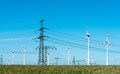 Wind Energy And Power Transmission Lines In Germany Royalty Free Stock Photography - 98094537