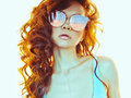 Beautiful  Woman In Pink-blue Sunglasses Royalty Free Stock Photos - 98095828