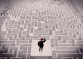 Businessman Looking At Labirynth From Above Stock Image - 98096111