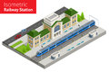 Isometric Train Station Building With Passenger Trains, Platform. Stock Photo - 98097060