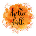 Autumn Lettering Phrase On Watercolor Imitation Background, Water Color Splash, Orange Texture, Isolated On White. Vector Illustra Royalty Free Stock Photography - 98129927