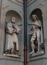 Galileo Galilei And Pier Antonio Micheli. Statues In The Uffizi Gallery, Florence, Tuscany, Italy Royalty Free Stock Image - 98131816