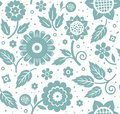 The Flowers And Leaves, Decorative Background, Seamless, Blue And White, Vector. Stock Photo - 98141470