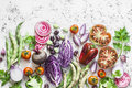 Organic Fresh Vegetables Background. Cabbage, Beets, Beans, Tomatoes, Peppers On A Light Background, Top View Royalty Free Stock Image - 98175256