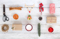 Christmas Theme Background With Decorations And Gifts Boxes On White Wood Board. Royalty Free Stock Photos - 98186428