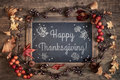 Thanksgiving Card Design With Chalkboard And Autumn Decorations Royalty Free Stock Photos - 98187958