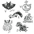 Animals Alphabet V - Z For Children. Vector Coloring Page Royalty Free Stock Photos - 98188448