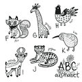 Animals Alphabet F - K For Children. Vector Coloring Page Royalty Free Stock Photo - 98188565