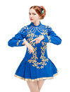 Beautiful Woman In Dress For Irish Dance Pointing On Hand Isolat Stock Photo - 98206380